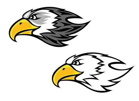 adler silhouette: Cartoon Falke oder Habicht Kopf für Maskottchen oder Tattoo-Design Illustration