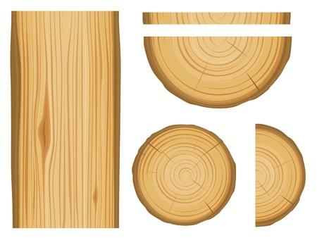 tronco: Textura de madera y los elementos aislados sobre fondo blanco Vectores