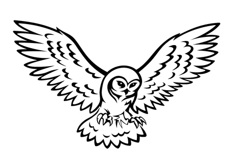 Flying owl for mascot or emblem design isolated on white background Vector