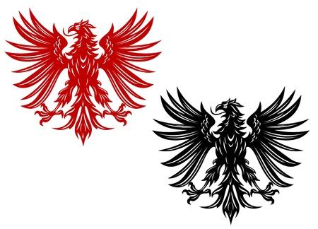 halcones: Poder retro águilas de la heráldica o el diseño del tatuaje Vectores