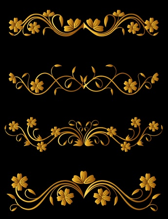 swirl border: Vintage flower elements set for ornate and decorations