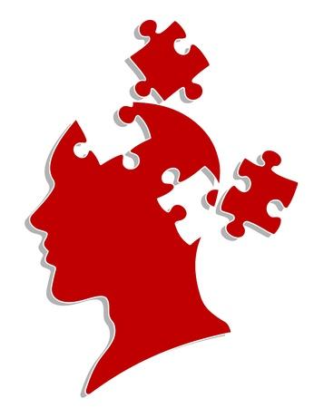 La gente la cabeza con elementos de rompecabezas para la psicología o el diseño de concepto médico Ilustración de vector