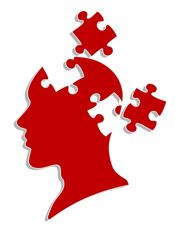 psicologia: La gente la cabeza con elementos de rompecabezas para la psicolog�a o el dise�o de concepto m�dico