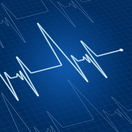 Heart pulse on blue screen for medicine and cardiology design Vector