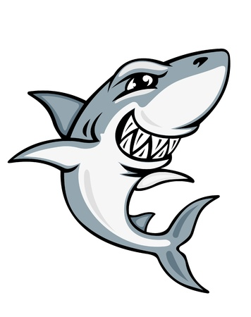 shark cartoon: Sonriente de la historieta de tiburón para la mascota y el emblema de diseño Vectores