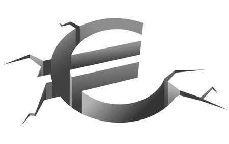 global retirement: Euro symbol in crash for european crisis concept Illustration