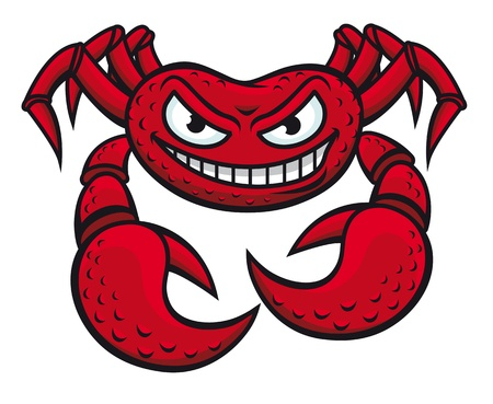 cangrejo caricatura: Cangrejo enojado rojo en estilo de dibujos animados sobre fondo blanco para el diseño de la mascota Vectores