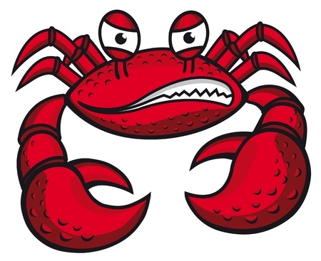 hardshell: Angry crab with claws in cartoon style for mascot or emblem design Illustration