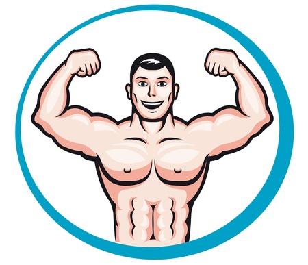 testépítő: Boldog, mosolygós testépítő férfi rajzfilm stílusú a sport-és egészségügyi koncepció kialakítása Illusztráció