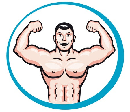 arm muscles: Happy smiling bodybuilder man in cartoon style for sports and health concept design Illustration