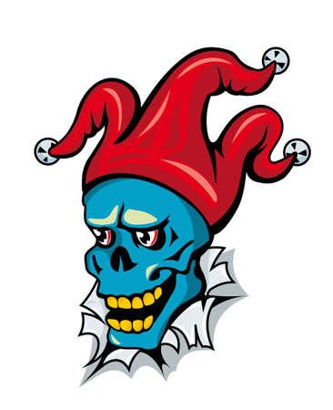 Cartoon clown skull on torned paper for t-shirt design Vector