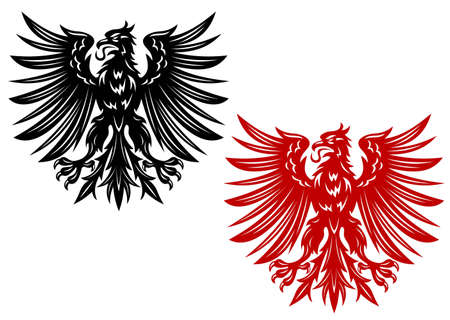 red beak: Red and black eagles for heraldry or tattoo design
