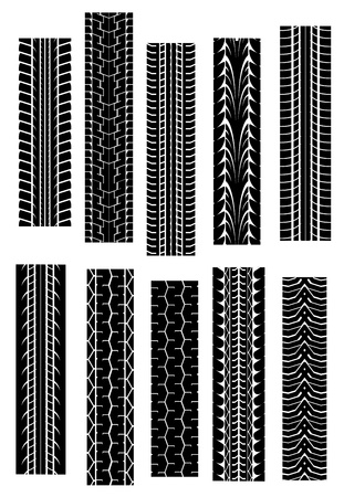 tyre tread: Set of tyre shapes isolated on white background for transportation design
