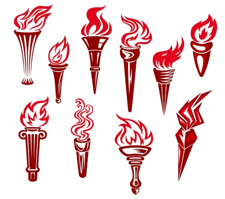 liberty torch: Set of flaming torchs icons and symbols isolated on white background