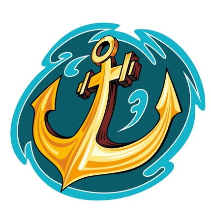 Vintage anchor in ocean water for sailor tattoo design Vector
