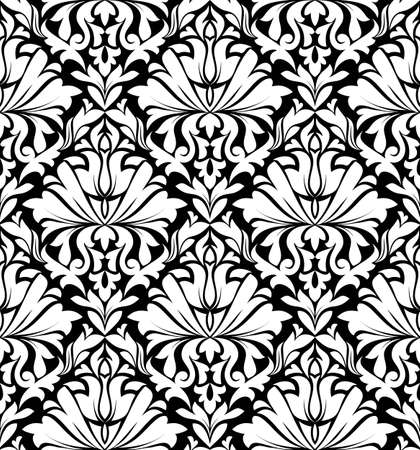 Vintage floral seamless pattern in white and black colors for textile or wallpaper design Vector