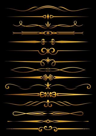 Confini d'epoca e divisori fissato per ornato e decorazioni