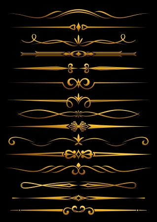 divider: Vintage borders and dividers set for ornate and decorations Illustration