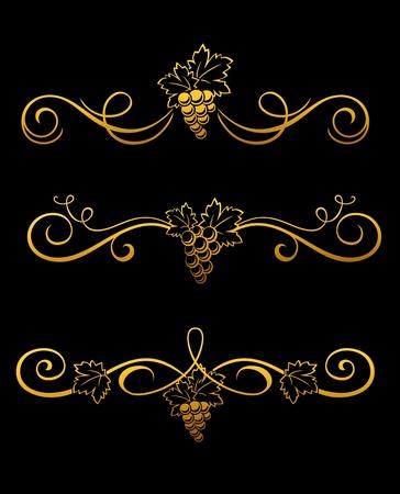 Set of golden grape borders for design Stock Vector - 12465388