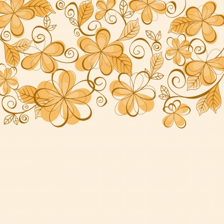 brown background: Orang eand brown flowers for design as a background