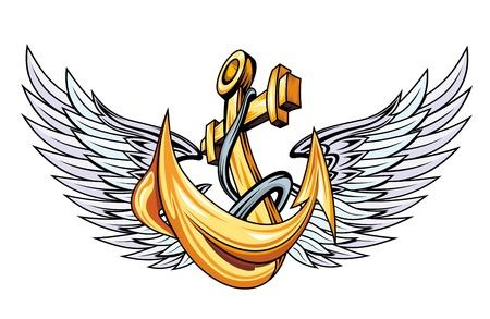 ancre marine: Ancrage Vintage avec des ailes pour marin tatouage Illustration
