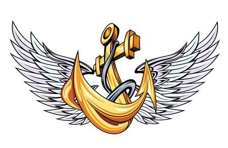 ship anchor: Vintage anchor with wings for sailor tattoo