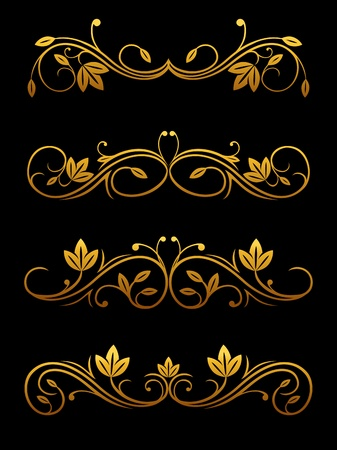 Golden vintage borders and dividers set for ornate and decorations Vector