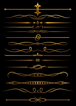 divider: Golden borders and dividers for ornate and decorations Illustration