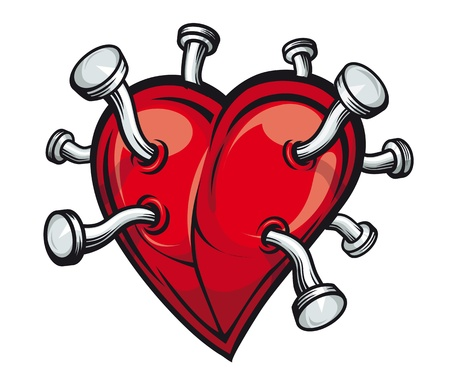 Retro heart with bent nails for tattoo or mascot design Vector