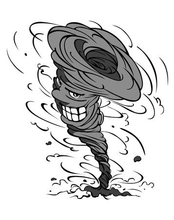 tornado: Smiling danger hurricane vortex in cartoon style Illustration