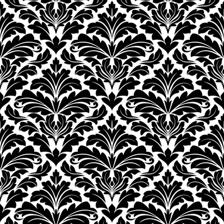 Damask seamless pattern in white and black colors for background design Vector