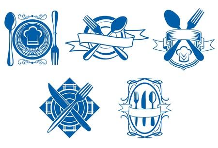 industria alimentaria: Los iconos de men� de restaurantes y caf�s y s�mbolos que figuran para el dise�o de la industria alimentaria aisladas sobre fondo blanco Vectores