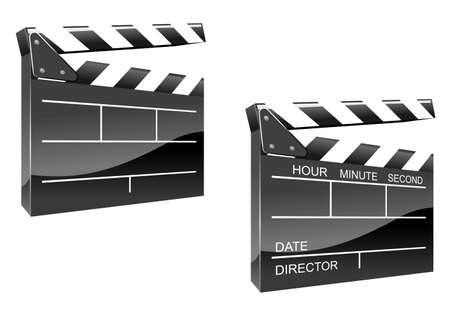 Movie clapper board in glossy icon style isolated on white background Vector