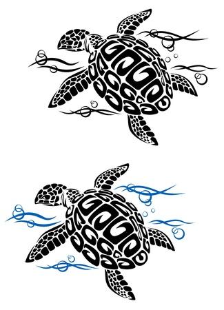 tortue de terre: Tortue dans l'eau de mer dans le style bande dessin�e pour la conception de tatouage ou de l'environnement