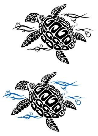 sea turtle: Turtle in sea water in cartoon style for tattoo or environment design