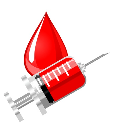 prick: Blood drop and syringe icon in glossy style