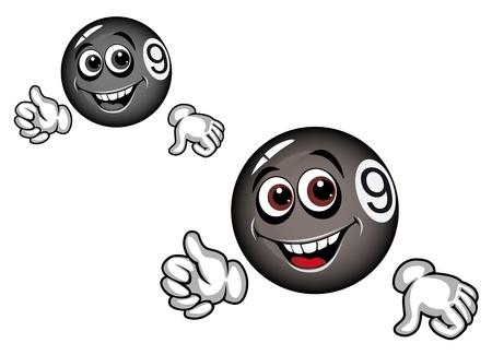 numero nueve: Bola de billar en el estilo de dibujos animados para los deportes de diseño Vectores