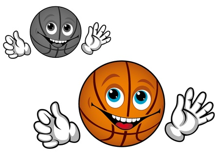 ballon basketball: Basket-ball balle dans le style bande dessin�e pour la conception de sport Illustration