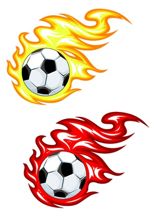 soccer kick: Football balls in yellow and red fire flames