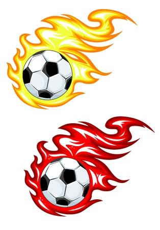 Les ballons de football en flammes de feu jaune et rouge Vecteurs