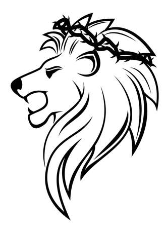 Heraldic lion with thorny wreath for heraldry design