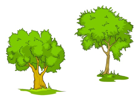 Green cartoon trees isolated on white background Vector
