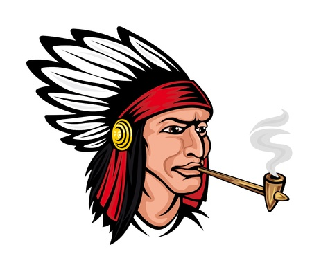 Native american brave in cartoon style for history concept or tattoo design Vector