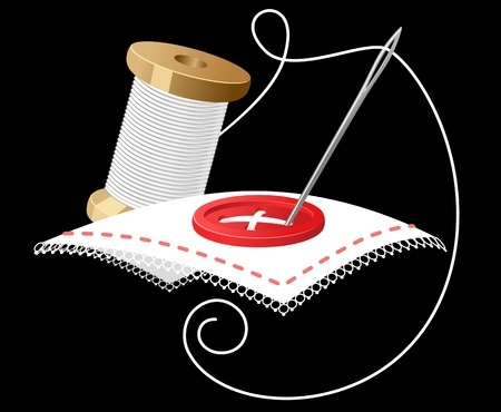 dressmaking: Needle with white threads as a sewing symbol Illustration
