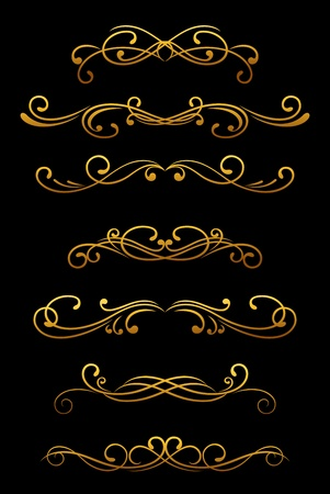 Vintage ornamental borders and dividers set for retro design Stock Vector - 12497801