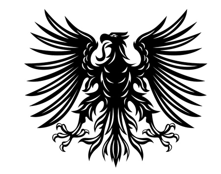 Black heraldic eagles for heraldry or tattoo design isolated on white background Vector