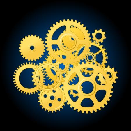 rueda dentada: Mec�nica mecanismo con engranajes de la tecnolog�a o el dise�o de concepto de tiempo Vectores