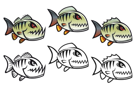 slashing: Angry cartoon piranha fish in three variations isolated on white backgrounds
