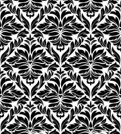 Seamless damask background in white and black colors for textile and fabric design Stock Vector - 12498065