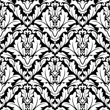 Seamless damask pattern in white and black colors for background design Vector